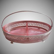 1930s Relish Basket Pink Glass Pierced Metal Frame Vintage