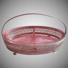1930s Relish Basket Pink Glass Pierced Metal Frame Vintage