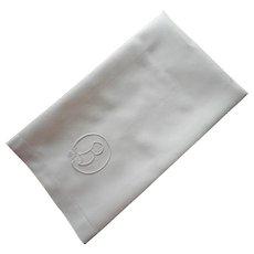 Monogram B Antique Linen Damask Towel Late 1910s