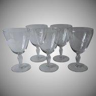 Crystal Water Goblets Vintage Wide Fine Simple Cut Star Burst Set 5