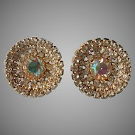 1950s Big AB Crystal Rhinestones Vintage Earrings Clip