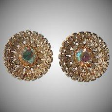 Vintage Earrings Big AB Crystal Rhinestones Gold Tone Metal Clip