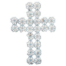 Tatted Lace Cross Blue White Vintage Tatting Insert Applique