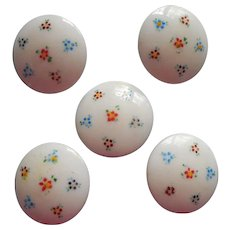 Antique Buttons White Opaque Glass Painted Embedded Metal Box Shanks