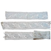 Antique Lace Very Wide 3 Lengths Yardage Thick Cream Cotton