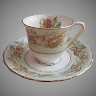 Demitasse Victoria Bone China Chelsea Pattern Cup Saucer Pink Rose Green White Gold