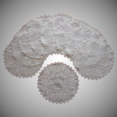 1920s Dessert Doilies Luncheon Vintage Linen Filet Lace Hand Embroidery Cutwork
