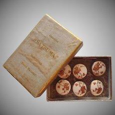 Satsuma Buttons Antique Japanese Set 6 Original Box Plum Tree Blossoms