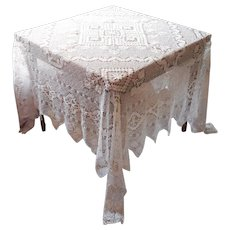 1920s Square Knotted Lace Tablecloth Very Vintage 77 x 79