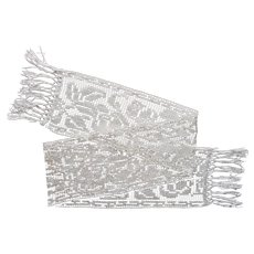 1920s Runner Long Narrow Vintage Net Lace Fringed