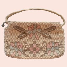 1930s Dance Purse Small Glass Beads Pastel Silver White