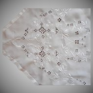 1920s Italian Work Linen Tablecloth Vintage Hand Embroidered 122 x 68