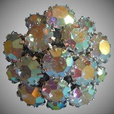 Sarah Coventry Ring AB Crystal Stones Cluster Rhodium Finish 8