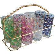 Fred Press Set 8 Tumblers Glasses Rack Vintage Mid Century Barware Signed