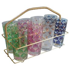 Fred Press Set 8 Tumblers Glasses Rack Vintage Mid Century Barware Signed