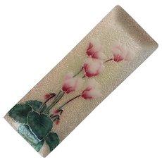 Japanese Enamel Pen Tray Dish Cyclamen Flowers Vintage 1970s
