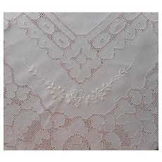 1920s Linen Tablecloth Vintage Mosaic Work Hand Embroidery 85 x 69