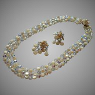 Vendome Set 3 Strand Necklace Drippy Earrings AB Crystal Mother Of Pearl Beads
