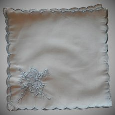 Cocktail Napkins Vintage Unused Pale Blue Hand Embroidery On White Cotton