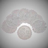 Filet Net Lace Finger Bowl Doilies Antique Set 8 Roses