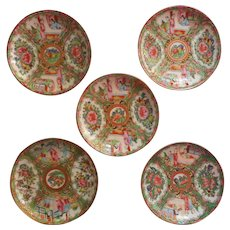 Rose Medallion Antique 5 Saucers Hand Painted China - Red Tag Sale Item