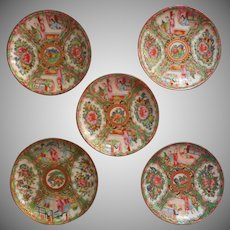 Rose Medallion Antique 5 Saucers Hand Painted China