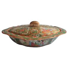 Rose Medallion Antique Chinese Covered Serving Bowl Dish Lid Hand Painted China