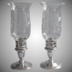 Vintage Sterling Silver Candlesticks Converters Hold Glass Hurricane Shades Anchor Rogers