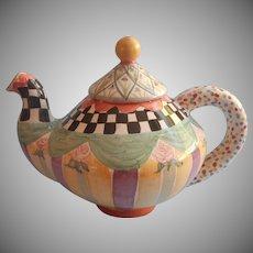 Mackenzie Childs Teapot Vintage Taylor Oddfellows Full Size Unused