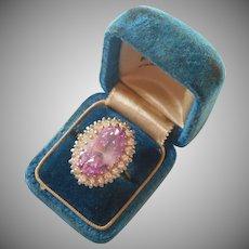 Vintage Edco Fashion Ring Sterling Silver Gold Plating Lavender Stone