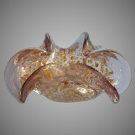 Vintage Murano Glass Ashtray Bullicante Smoky Lavender Silver Gold
