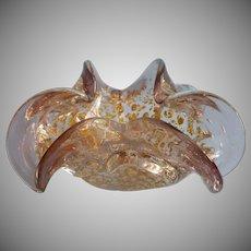 Vintage Murano Glass Ashtray Bullicante Smoky Lavender Silver Gold