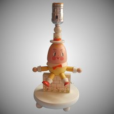 Vintage Nursery Lamp Painted Wood Wooden Humpty Dumpty Mother Goose