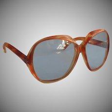 Vintage Sunglasses Late 1970s Pale Blue Lenses Big Bug Eye