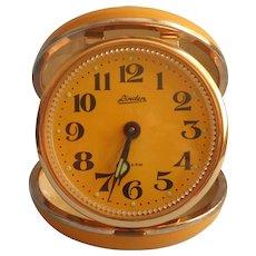 Vintage Mod Travel Alarm Clock Linden Harvest Gold Golden Yellow