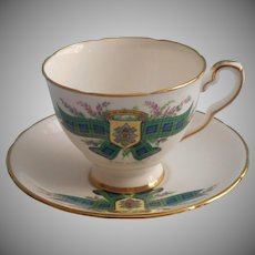 Tartan Black Watch English Bone China Cup Saucer Royal Stafford Vintage