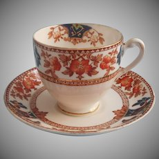 1920s 1930s Plant Tuscan Cup Saucer Rich Spice Imari Colors Vintage English