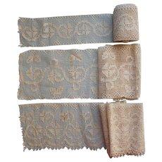 Antique Lace Wide Matching Insertion Edging Unused Trim Yardage