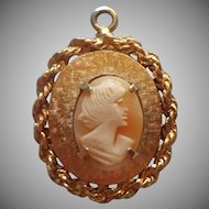 Cameo Charm Large Large Vintage Carved Shell Gold Tone Metal