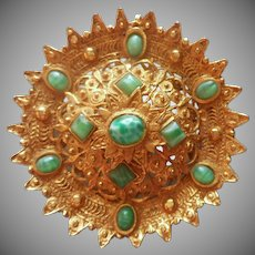 Pin Pendant Vintage Big Green Peking Art Glass Stones