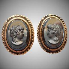 Vintage Earrings Cameo Black Glass Faux Hematite 1960s Clip