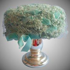 Vintage Hat Aqua Fancy Faux Straw Velvet Ribbons Pale Turquoise