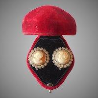 Vintage Sterling Silver Shell Cameo Rhinestone Earrings Screw Back