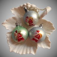 Vintage Christmas Tree Ornaments Glass Poland Santa Dots Smaller For Feather Tree