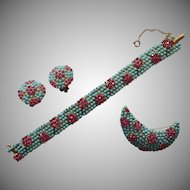 Vintage 1960s Set Bracelet Pin Earrings Faux Turquoise Faux Pink Sapphire