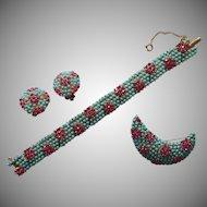 Vintage 1960s Set Bracelet Pin Earrings Faux Turquoise Faux Pink Sapphire