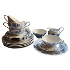1950s Breakfast China Bavarian Blue and White Vintage Cups Saucers Plates Creamer Sugar
