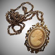 Vintage Shell Cameo Pendant Necklace On Chain Faux Seed Pearls