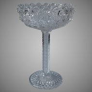 Antique Tazza High Compote EAPG Pressed Glass Cane Holiday Table