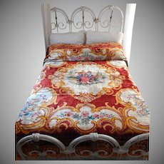 Vintage Italian Wedding Coverlet Bedspread Crushed Velvet Cherubs